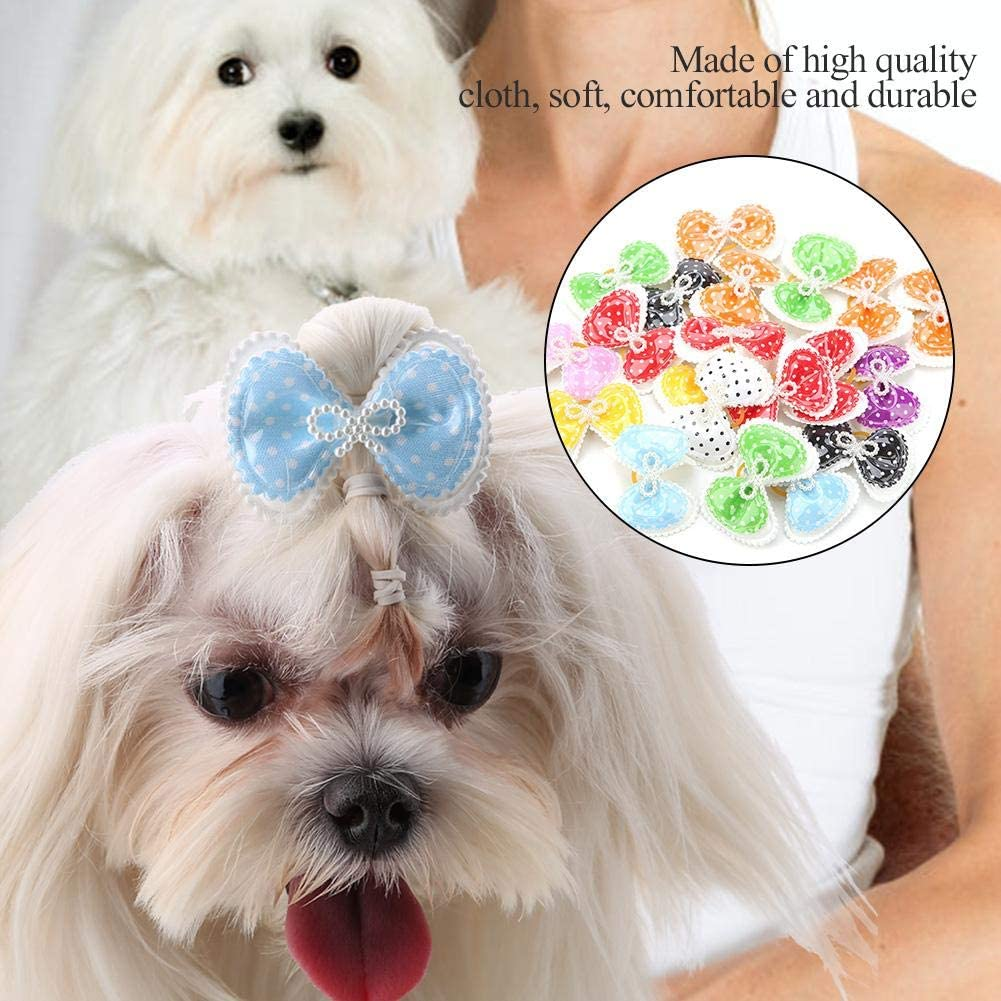 Fdit Multiple Color Pet Hair Bows Double Dog Grooming Bands Cat Dog Headwear Accessory 100pcs