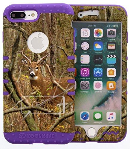 [iPhone 7 Plus Case, Hybrid Tough Shockproof Slim Impact Armor Kickstand Real Deer Camo Mossy Cover Over Skin for iphone 7 Plus (real deer/purple)] (Mossy Deer Camo)