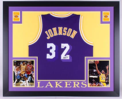 8facd9438c64 Magic Johnson Autographed Signed Los Angeles Lakers 35x43 Deluxe Framed  Jersey - PSA DNA Certified