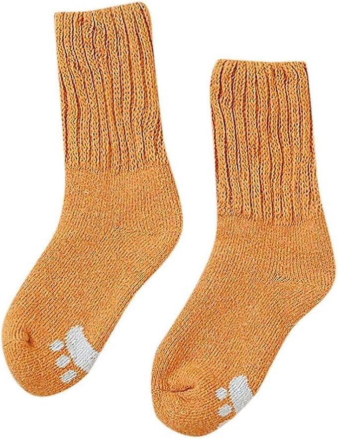VJGOAL Calcetines de algodón para mujer Invierno Casual Moda Color sólido Espesar Cálido Lana estampado suave Medias medias(Amarillo, Talla única): Amazon.es: Ropa y accesorios