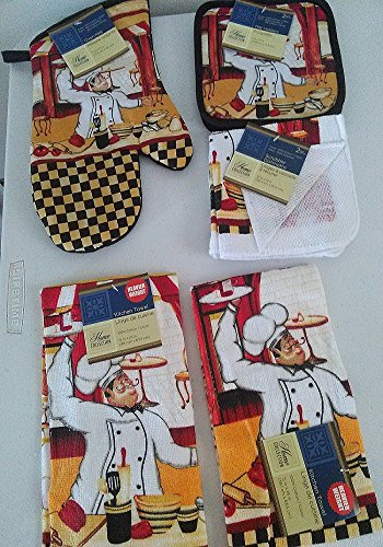 7 Piece Fat Chef Themed Kitchen Linen Set (7)