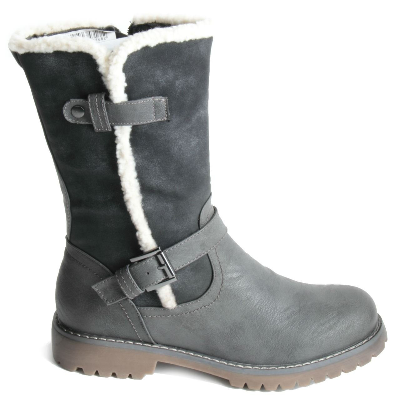 Damen Damen niedrigen Ferse Zip bis warme Wadenhohe Stiefel Isolierte Winter Schuhe Schwarz - schwarz - Größe  35.5