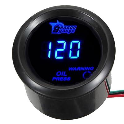 """ESUPPORT Car 2"""" 52mm Digital Oil Press Pressure Gauge Blue LED: Automotive"""