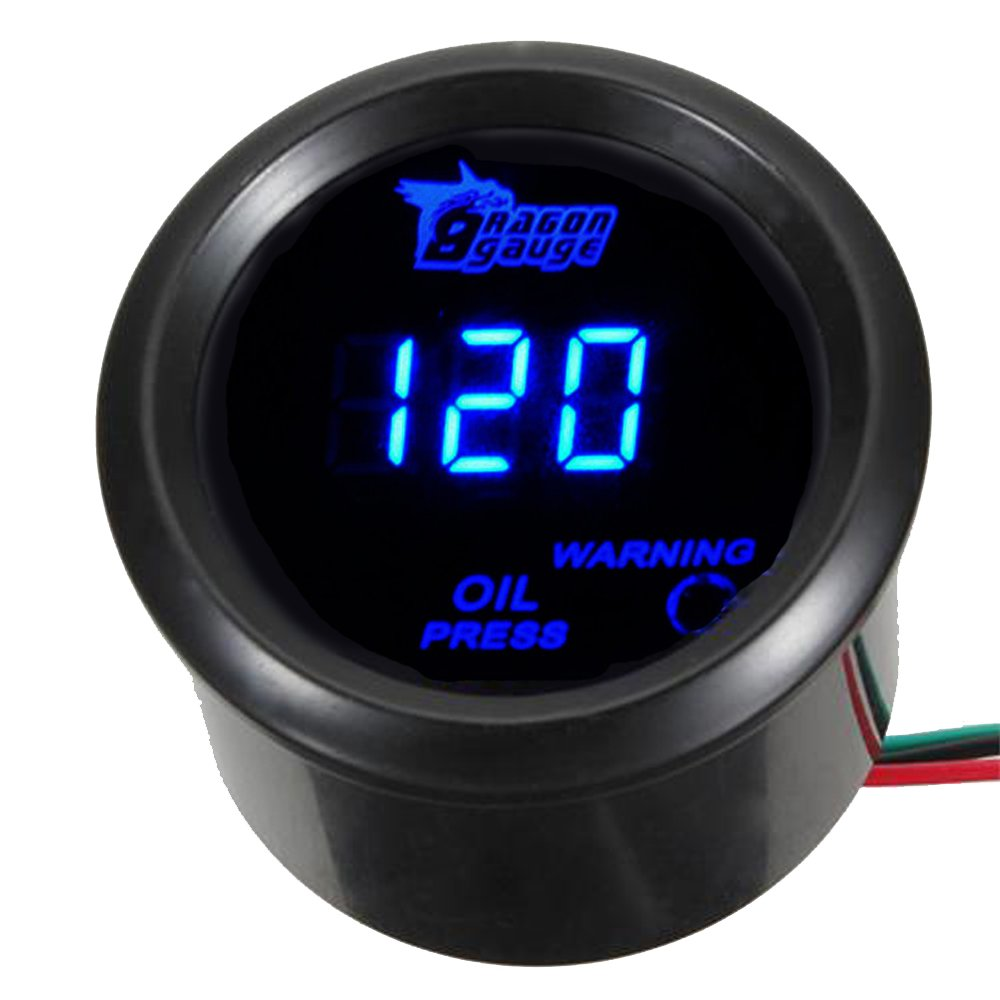 ESUPPORT Car 2 52mm Digital Water Temp Gauge Temperature Meter Blue LED Light Celsius