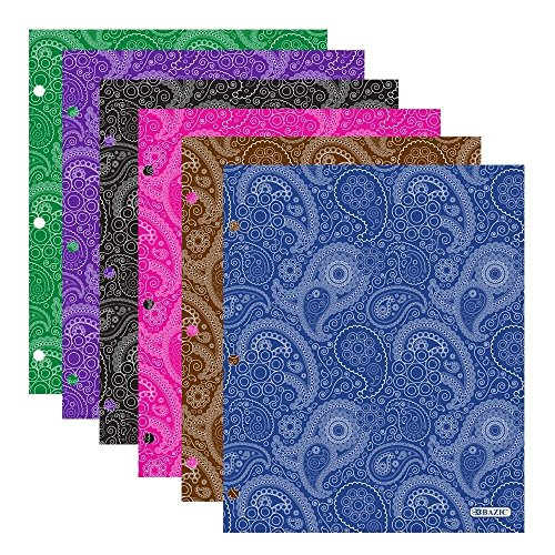 4 Pk. BAZIC Laminated Bright Glossy Paisley Colored 2-Pockets Portfolios with 3 punched holes