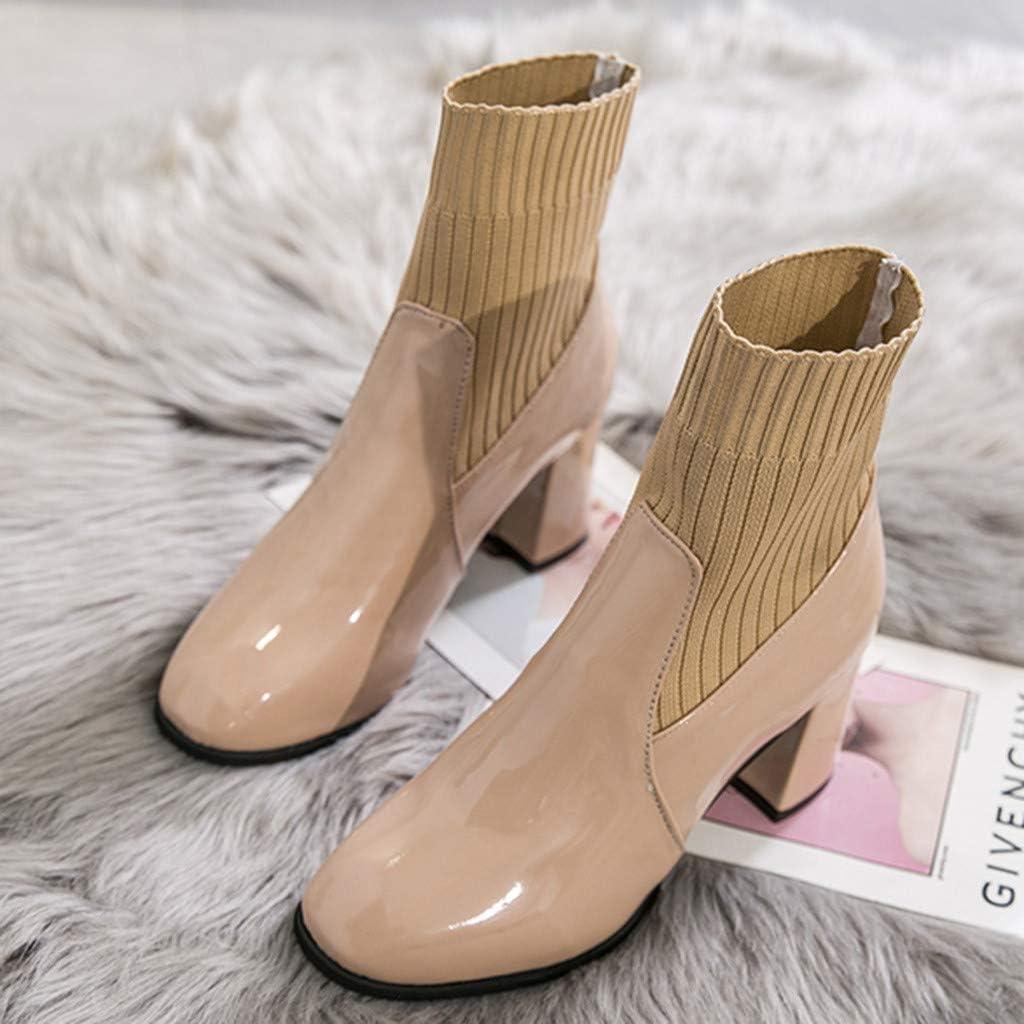 DERENFR Boots Femme Cuir,Bottines Femme Cuir,Chaussures Femme,Nouveau Mode Femmes Mixte Couleurs Carré Talons Pointu Doigt de Pied des Chaussures Fête Bottes Beige