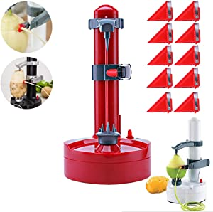 Electric Peeler Rotato Express2.0 + 10 Replacement Blades,Automatic Rotating Fruits & Vegetables Cutter Apple Paring Machine - Kitchen Peeling Tool (Red)