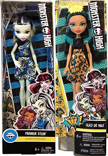 Monsterrific Dolls Cleo De Nile Daughter of Mummy in Pop Dress Freaky Fabulous Scary Bundled with Frankie Stein Girl in Skull Print Dress 2 Item Pack Bundle ()