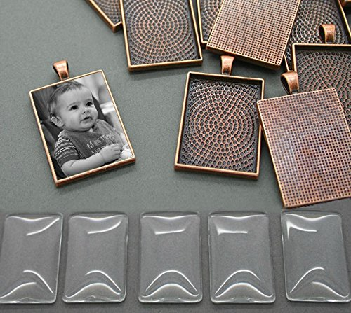(10 Pack Vintage Copper Plated Rectangle Pendant Trays 25x35mm Tray Bonus Resizing Software Download)