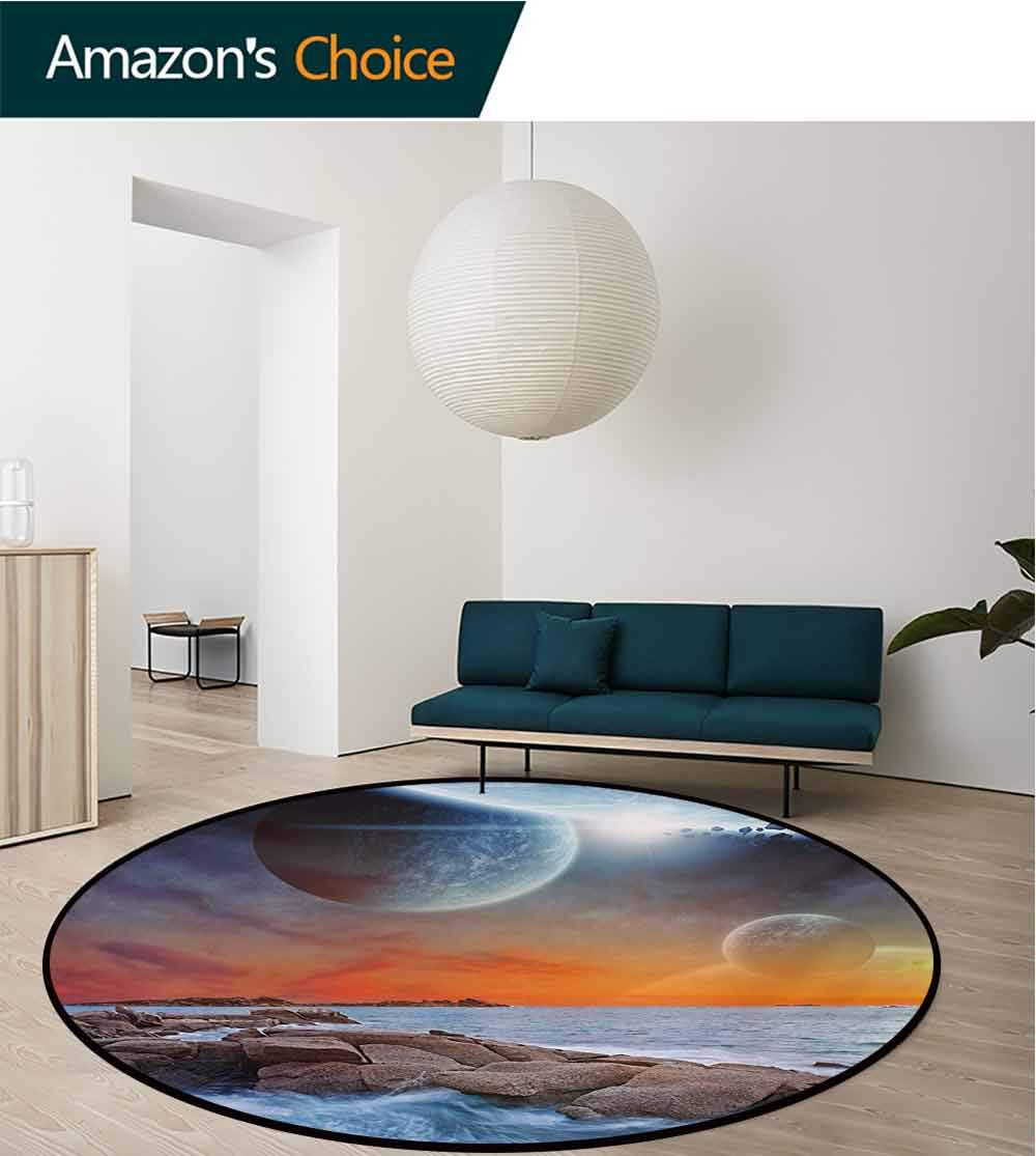 RUGSMAT Galaxy Non-Slip Area Rug Pad Round,Planet Landscape View from A Beautiful Rocky Beach Ocean Science Room Theme Protect Floors While Securing Rug Making Vacuuming,Diameter-71 Inch by RUGSMAT (Image #3)