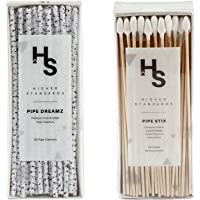 Higher Standards Pipe Dreamz and Pipe Stix Combo Premium Hard Bristle Straw Cleaner Brush and Long Cotton Swab Cleaning…