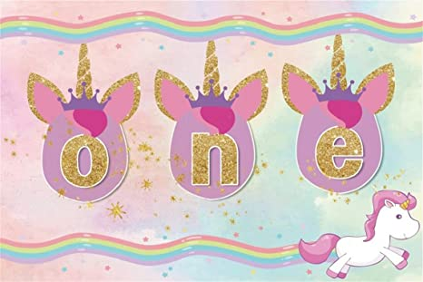 CSFOTO 7x5ft Background For Unicorn 1st Birthday Party Decor Photography Backdrop Head One Year Old