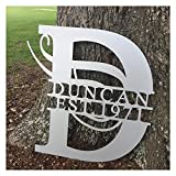 30'' Tall Personalized Sign Aluminum Door Hanger Wall Fence Yard Sign Last Name & Date Established