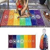 Yoga Mat Tapestry Rainbow 7 Chakra Stripes Beach Towel Summer Wall Hanging Mandala Blanket Travel Sunscreen Shawl Hippy Boho