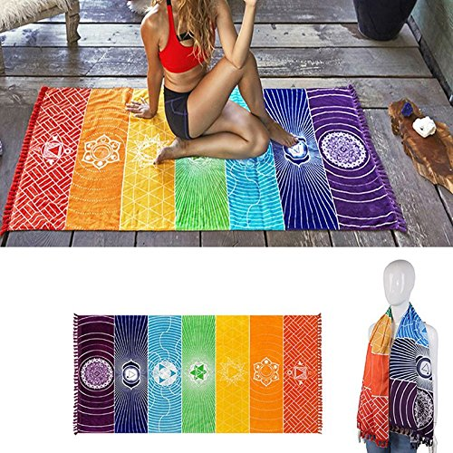 Yoga Mat Tapestry Rainbow 7 Chakra Stripes Beach Towel Summer Wall Hanging Mandala Blanket Travel Sunscreen Shawl Hippy Boho by TanQiang