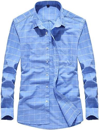 Camisa De Manga Larga para Un Hombre Simple Y Elegante De Manga Larga Camisa De Cuadros BotóN Casual Business Casual: Amazon.es: Ropa y accesorios