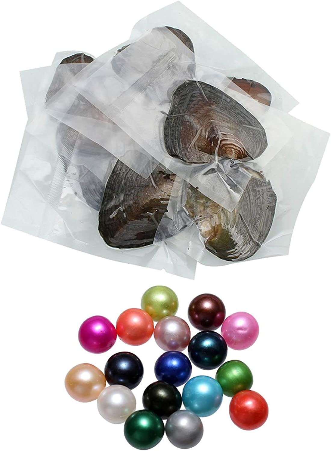 unbrand Freshwater Oysters Pearl, 20PCS/Lot Freshwater Cultured Pearl Oyster with Pearl Inside Oysters Random Colors Single Bead Round Pearls DIY Jewelry Making