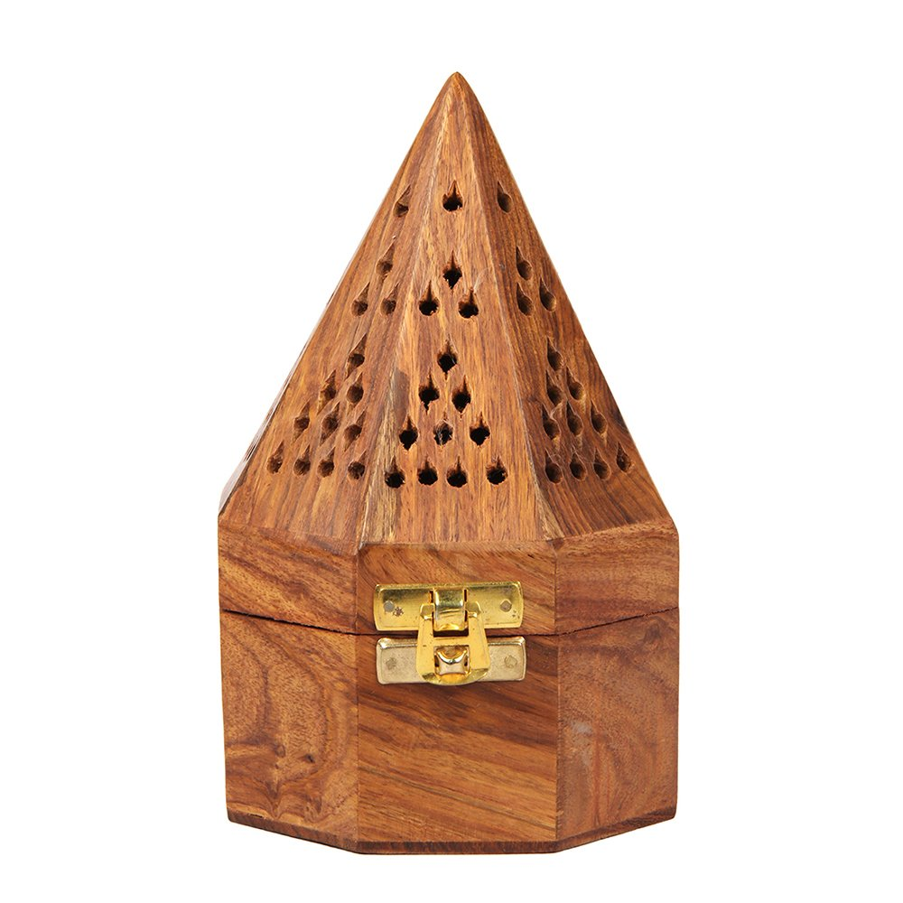 Aheli Wooden Classic Temple Style Dhoop Burner Holder with Base Square and Top Cone Shape Dhoop Holder 4 x 6 Inches