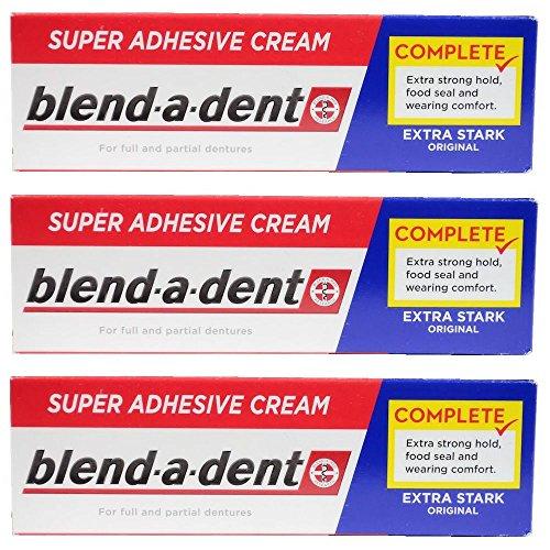 German blend-a-dent Super Denture Adhesive Cream Extra Stark ORIGINAL (Blue) 47g (3 PACK) (Best Denture Adhesive 2019)