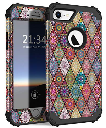 Hocase iPhone 8 Case iPhone 7 Case, Shockproof Protection Heavy Duty Hard Plastic+Silicone Rubber Bumper Full Body Protective Case for iPhone 8, iPhone 7 (4.7-Inch Display) - Mandala Flowers Black