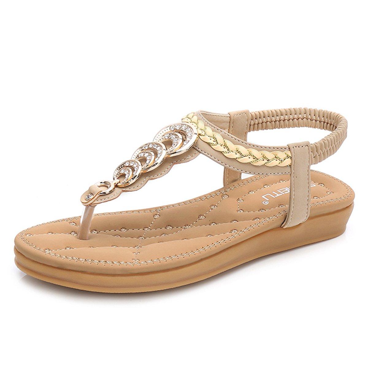 gracosy Damen Sandalen, Flip Flops Sommer Sandals Flach Zehentrenner T-Strap Offen Bouml;hmische Strand Schuhe  39 EU|Beige-a