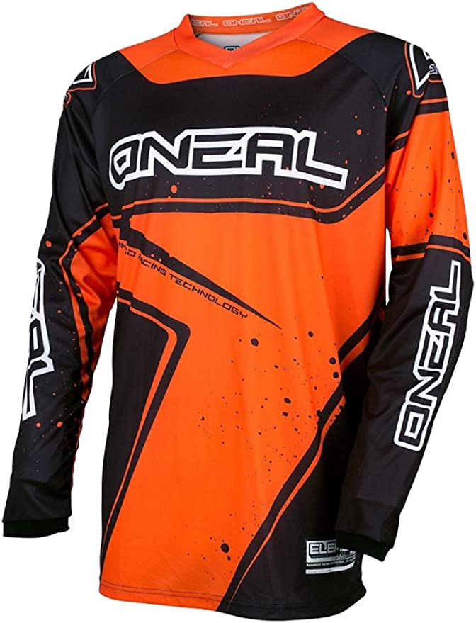 Gr/ö/ße L ONeal Element Racewear Jersey Moto Cross MTB MX Mountain Bike Trikot Langarm Shirt Leicht Offroad Farbe Schwarz Rot E001