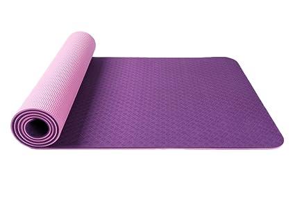 Oyccen Antideslizante 6mm TPE Esterilla de Yoga para Ejercicio Fitness Pilates Gimnasia Colchonetas con Bolsa de Transporte