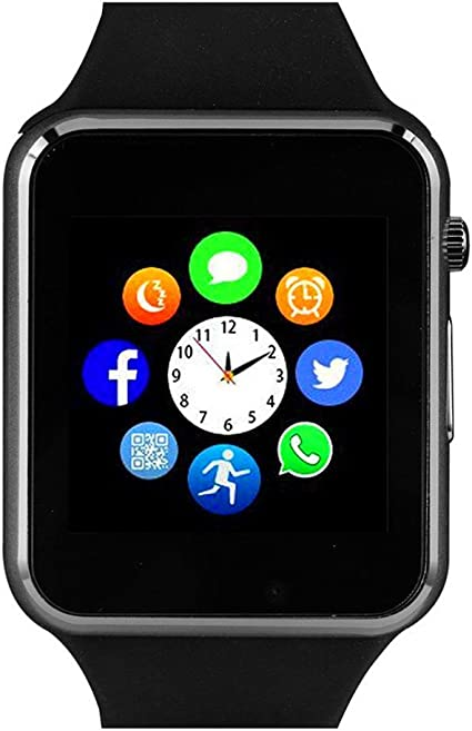 Amazqi Smart Watch, Smartwatch Phone with Camera TF Card Pedometer SIM Card Slot Music Player Compatible for IOS IPhone (Partial Functions) and ...