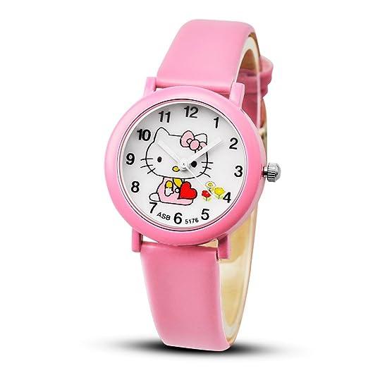 Reloj de cuarzo para niña, diseño de dibujos animados, color rosa ...