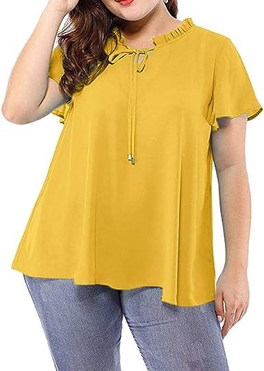 Camisetas Mujer Tallas Grandes De Fiesta Originales Blusa Mujer Blusas para Mujer Elegantes Verano Las Mujeres Más Tamaño Sólido Auto-Tie Cuello Fruncido Mangas De Gasa Blusa Chiffon Camisa Top: Amazon.es: Ropa y