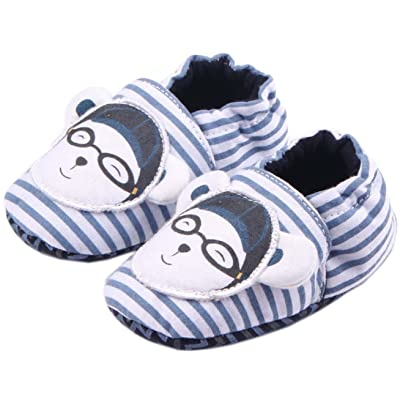 Bettyhome Cotton Unisex Baby Newborn Stripes Glasses Pattern Soft Sole Infant Toddler Prewalker Sneakers (0-1 Year)