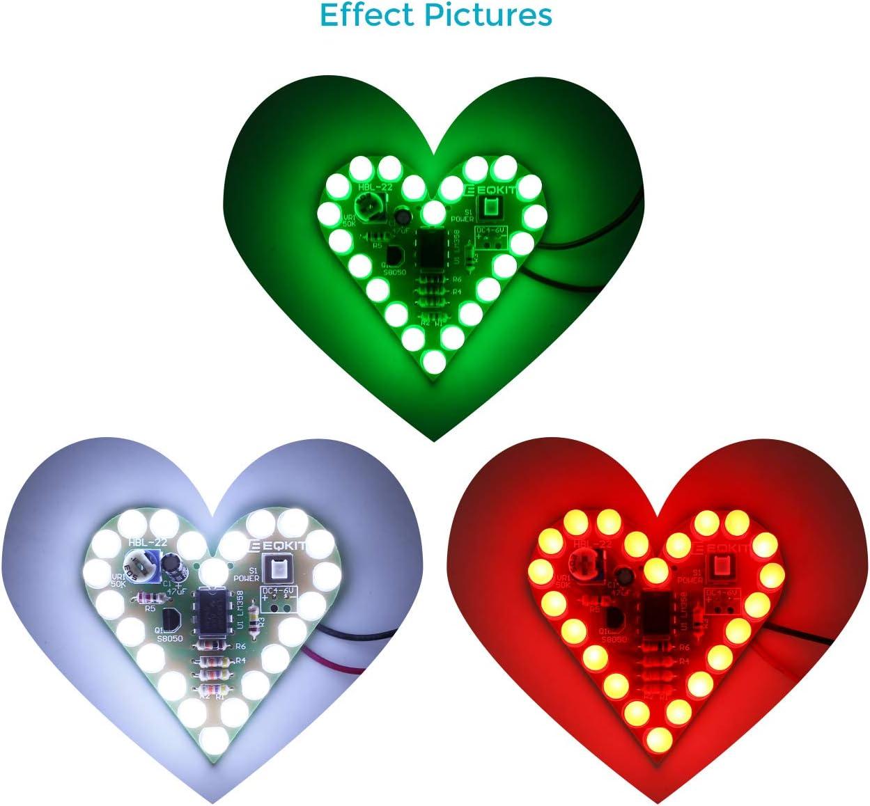 DIY Kit Red//Green Dual-Color LED Music Flash Light Heart-Shaped Module US