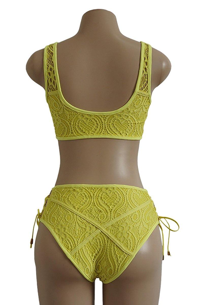 130cb06276 Almaree Woman's Lace up Front Tie Side Bottom 2PCS Bikini Set Lace ...