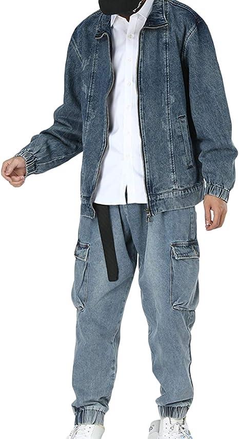habille(ハビー) メンズ 選べる組み合わせ コーデセット買い ジージャン デニムライダース ジーパン ストリート系 大きいサイズ おまけ付(3タイプ)