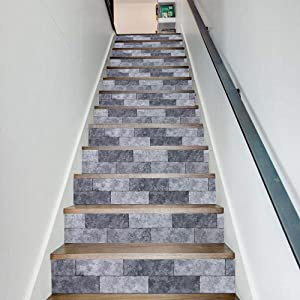 Cosaving Stairs Stickers Decals Brick Vinyl Stair Risers Stickers Peel and Stick Self-Adhesive Decals for Stairs/Backsplash Home Decor Removable, 7x39 inch, 6 Pcs/Set, Grey BRIC