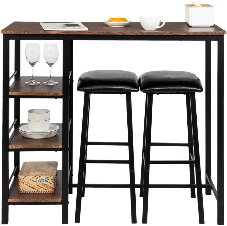 Bonnlo 3-Piece Counter Height Dining Table Set Kitchen Dining Pub Bar Table with 2 Upholstered Stools 3 Open Storage Shelves