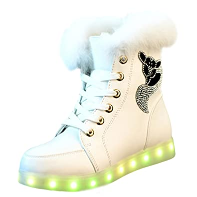 Femme Mode Boots USB Charger LED Lumineuse Strass Décoration -Noir 3RsDjlo9