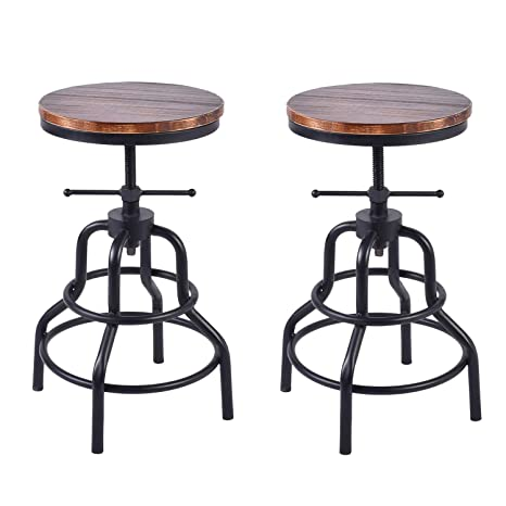 Pleasing Diwhy Industrial Vintage Bar Stool Kitchen Counter Height Adjustable Pipe Stool Cast Iron Stool Swivel Bar Stool Round Wood And Meatal Stool 27 Evergreenethics Interior Chair Design Evergreenethicsorg
