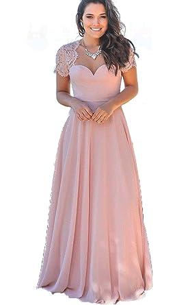 8fa908de723 Modeldress Women s Lace Long Chiffon Bridesmaid Dresses Open Back Blush US2
