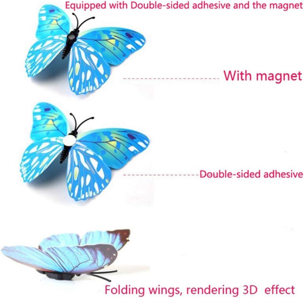 Yamer 36 UNIDS 3D Mariposas Adhesivos de Pared Doble Alas Etiqueta de la Pared con Autoadhesivo Artificial PVC Colorido Decoraci/ón de Mariposas para el Aula de Oficinas Ni/ños Chica Ni/ño Beb/é