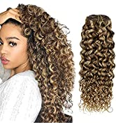 Hetto Curly Clip in Hair Extensions Blonde Highlight Brown Hair Extensions Thick Human Hair 14 In...