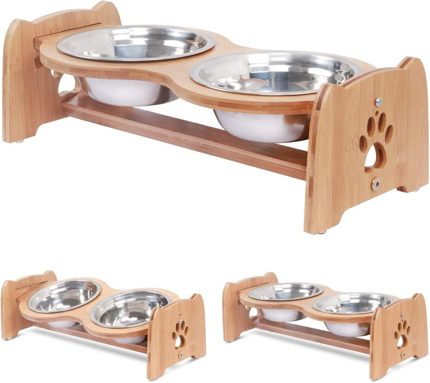 X-ZONE PET Raised Pet Bowls for Cats and Dogs, Adjustable Bamboo Elevated Dog Cat Food and Water Bowls Stand Feeder with 2 Stainless Steel Bowls and Anti Slip Feet (Height 5.1