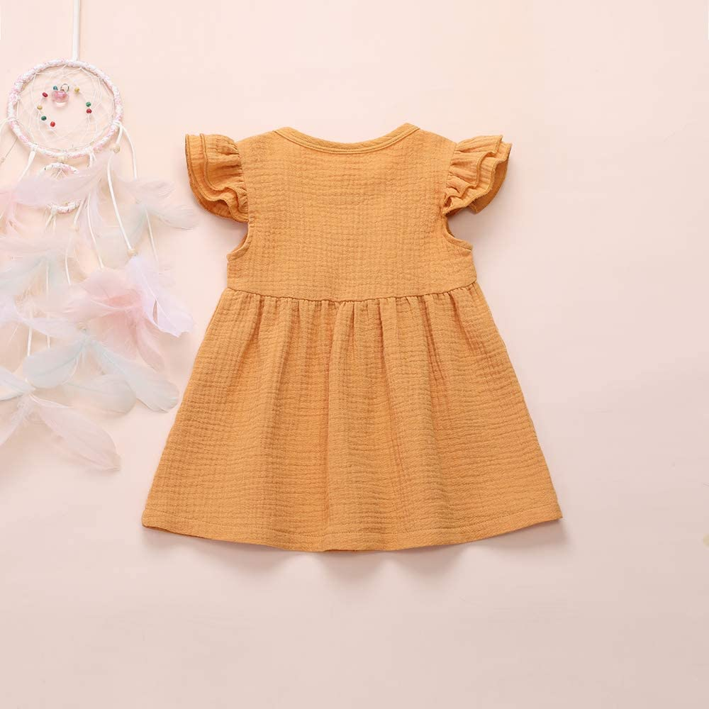 YOUNGER TREE Toddler Baby Girls Summer Clothing Cute Ruffle Sleeve Solid Dress Button Bow Skirt Little Girl Outfits