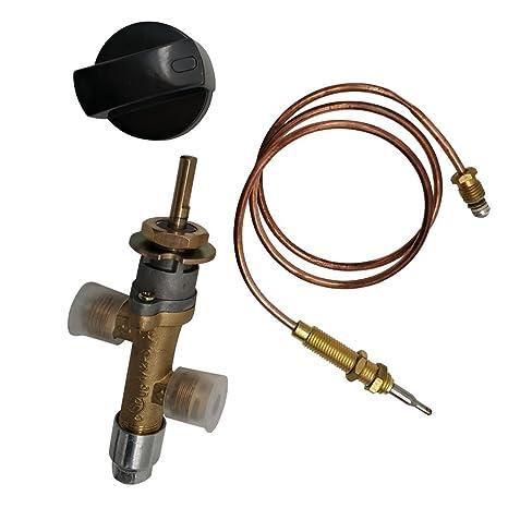 MeTer Star Propane Lpg - Válvula de control de fuego de gas con termopar y pomo
