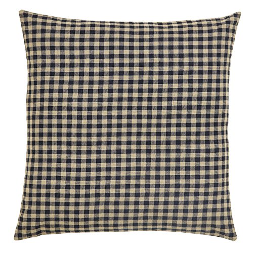 VHC Brands Check Fabric 20155 Euro Sham, Black (Check Sham)