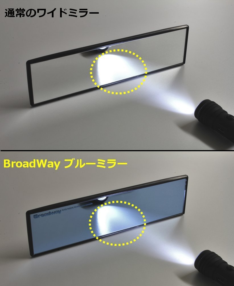 ICBEAMER Broadway 270mm 10.7 Type-A Clip On Universal Interior Rear View Blue Tint Flat Surface Mirror Sold