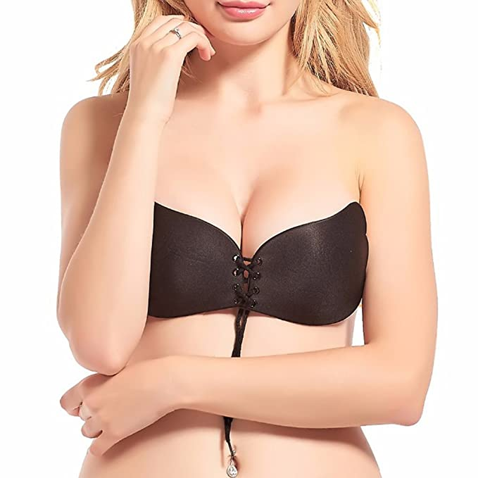 26f50e6b92 Plus Size Backless Bra Invisible Silicone Strapless Push Up Bra with  Drawstring