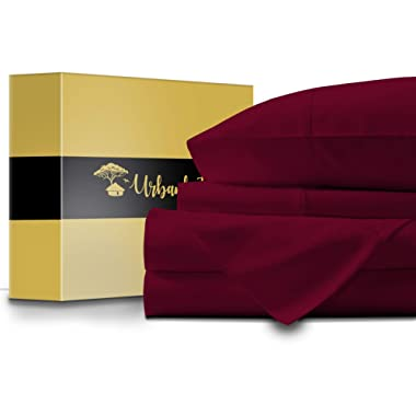 URBANHUT Egyptian Cotton Sheets Set - 1000 Thread Count 100% Cotton King Size Sheets (4 Piece), Luxury Bed Sheets King, Deep Pocket, Soft & Silky Sateen Weave (Burgundy)