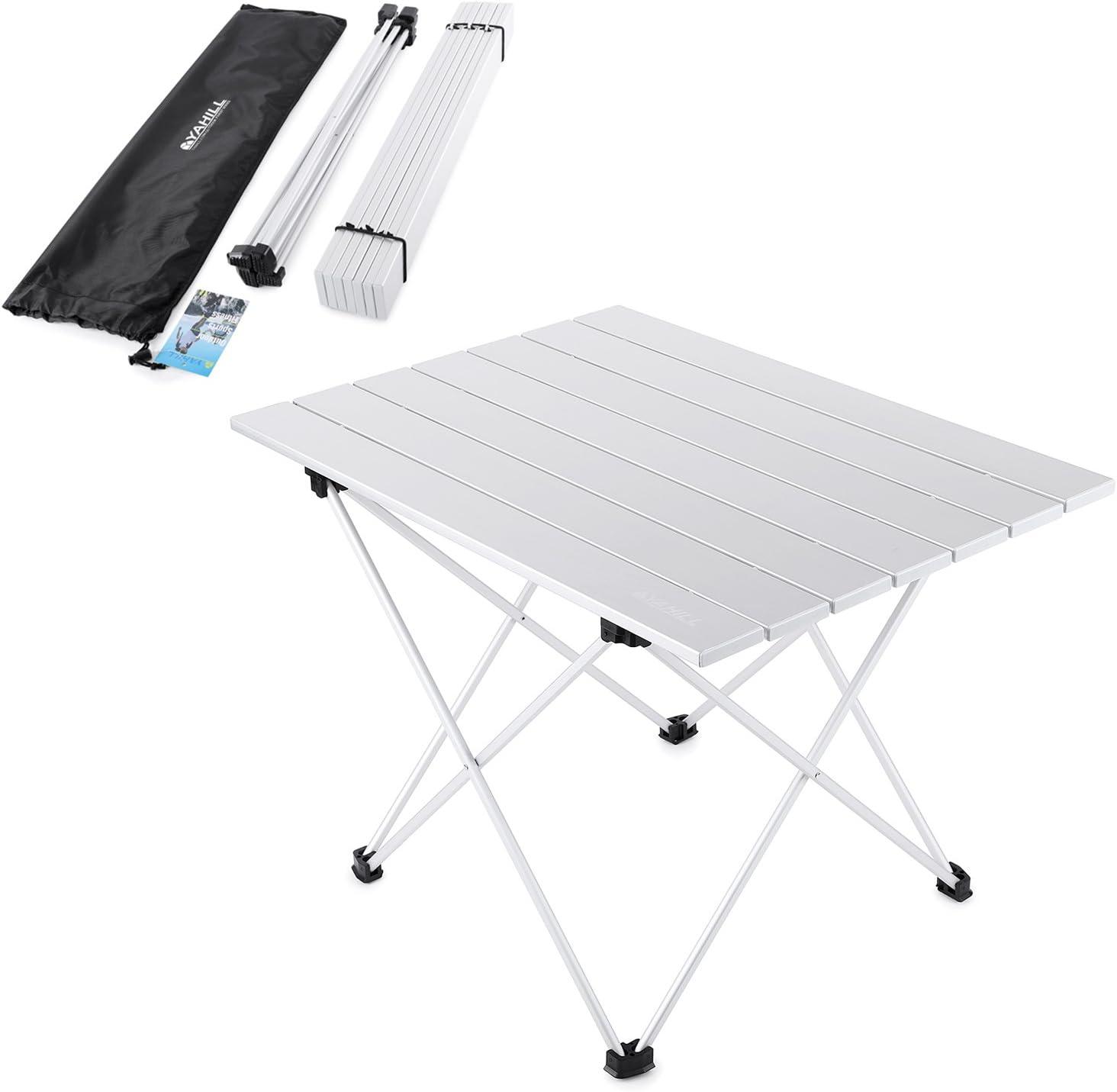 YAHILL Mesa Plegable Camping de Aluminio Mesa Playa de Acampar Enrollable de 3 tamaños con Bolso para cargarla para picnics Dentro y Fuera, Playa, Senderismo, Viajes, Pesca