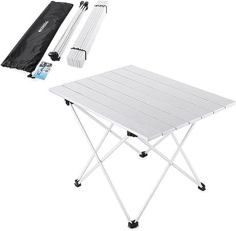 YAHILL Mesa Plegable Camping de Aluminio Mesa Playa de Acampar Enrollable de 3 tamaños con Bolso para cargarla para picnics Dentro y Fuera, Playa, ...